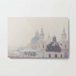 beneath the snow covered domes of Salzburg, Austria Metal Print