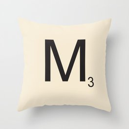 Scrabble M Throw Pillow