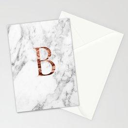 Monogram rose gold marble B Stationery Cards
