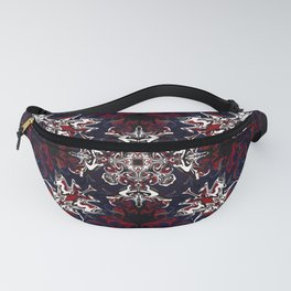 Psychedelic Black, Red and White Pattern Fanny Pack