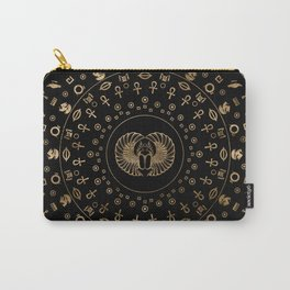 Golden Egyptian Scarab Beetle - in circular pattern Carry-All Pouch