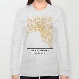 MELBOURNE AUSTRALIA CITY STREET MAP ART Long Sleeve T-shirt