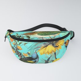 Vintage & Shabby Chic - Teal Tropical Bird Garden Fanny Pack
