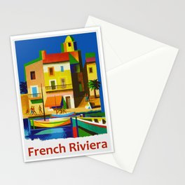 Vintage French Riviera Travel Ad Stationery Cards