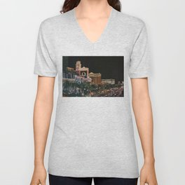 Las Vegas Strip Oil On Canvas Unisex V-Neck