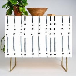 black and white dots and dashes boho modern Credenza