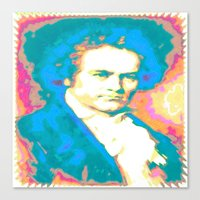 beethoven Canvas Prints featuring Beethoven by Katherine Barnett