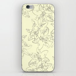 yellow line art floral pattern iPhone Skin