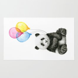 Panda Baby with Balloons Whimsical Nursery Animals Rug