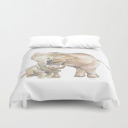 Mother's Love - Elephant Family Duvet Cover