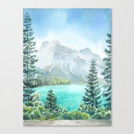 Emerald Lake Watercolor Canvas Print