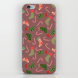 Hand painted green red white Christmas socks candy pattern iPhone Skin