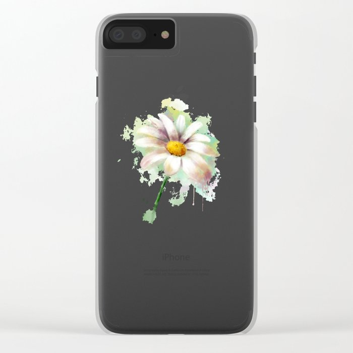 Daisy watercolor - flower illustration Clear iPhone Case