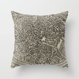 Vintage Map of Bruges Belgium (1612) Throw Pillow