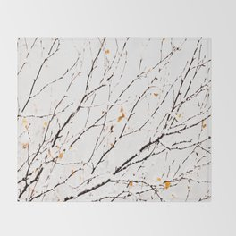 Snowy birch twigs and leaves #society6 #decor #buyart Throw Blanket