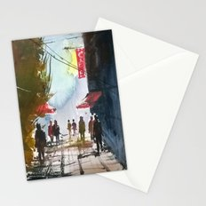 Walk through the street Stationery Cards