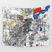 kansas Wall Tapestries featuring Kansas city mondrian map by Mondrian Maps