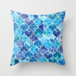 Moroccan Tile Pattern in Blue Watercolor Throw Pillow