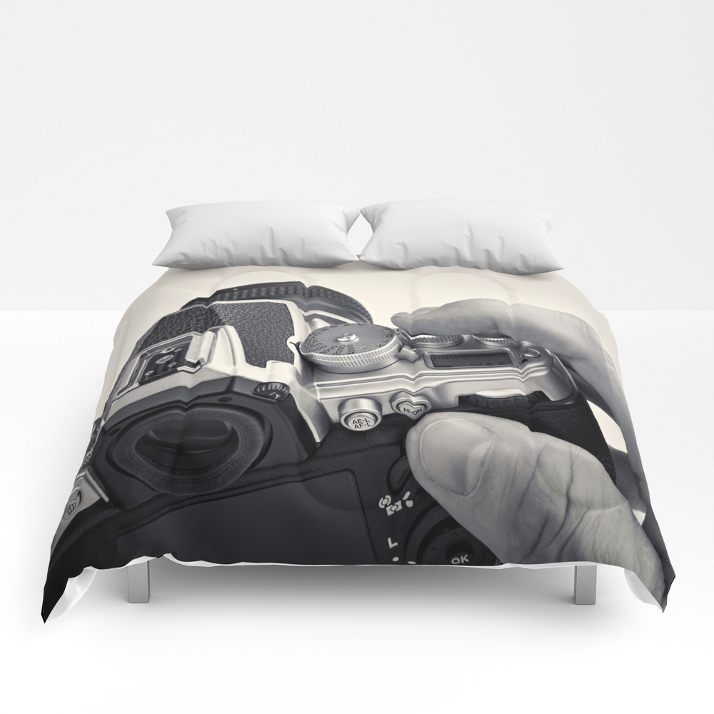 Retro Slr Camera In Hands Photographer Comforter by Ryzhov CMF8791120