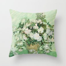 Vase with Pink Roses by Vincent van Gogh Throw Pillow
