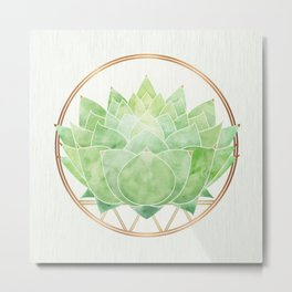 Watercolor Succulent with Metallic Gold Accents Metal Print