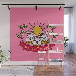 Happy Easter Happy Bunnies Wall Mural
