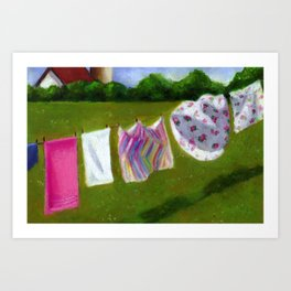 Laundry Day In The Country Art Print
