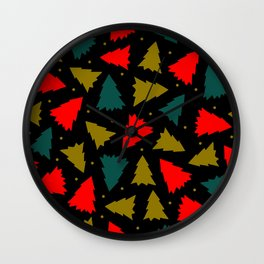 Red, Green, and Gold Christmas Trees Wall Clock