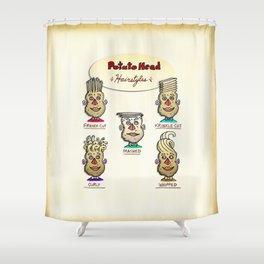 Popular Potato Head Hairstyles Shower Curtain