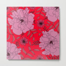 Russian Red Peony   Hand-drawn Modern Floral Print in Pink Metal Print