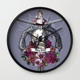 skull, rose, gun, vintage, engraving, pistol, girl, Wall Clock