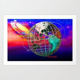 Earth and Andromeda Galaxy Art Print