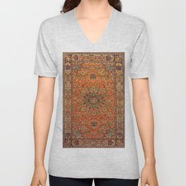 Central Persia Qum Old Century Authentic Colorful Orange Yellow Green Vintage Patterns Unisex V-Neck
