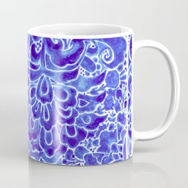 Watercolor Chinoiserie Block Floral Print in Blue Porcelain Tiles Coffee Mug