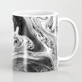 Mishiko - spilled ink abstract marble painting black and white minimal modern marbled paper water  Coffee Mug