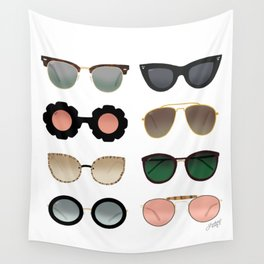 Sunglasses Illustration (Green/Gold Palette) Wall Tapestry