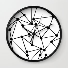 Ab Out Lines With Spots White Wall Clock