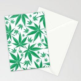 marijuana green pattern background Stationery Cards