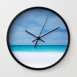 Tropical paradise beach turquoise sea ocean nature travel hipster Caribbean Fiji horizon photograph Wall Clock