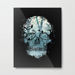 Dark Forest Skull Metal Print