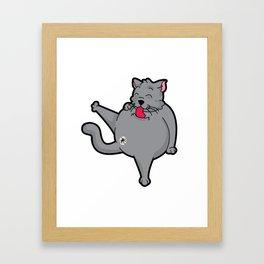 Happy grooming cat time Framed Art Print