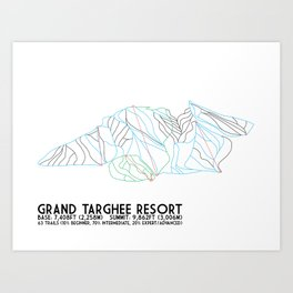 Grand Targhee Resort, WY - Minimalist Trail Art Art Print