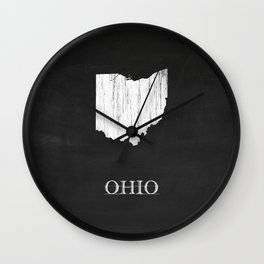 Ohio State Map Chalk Drawing Wall Clock