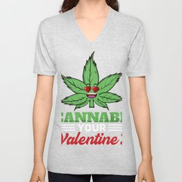 Valentine's Day Cannabis graphic Weed Marijuana Pot Unisex V-Neck