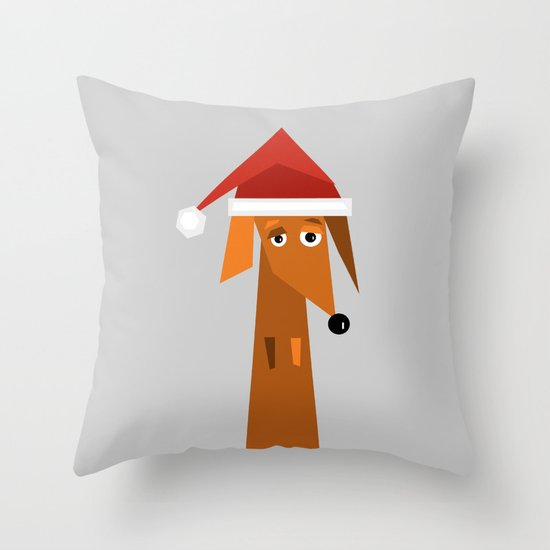 Dachshund Ready For Christmas Throw Pillow