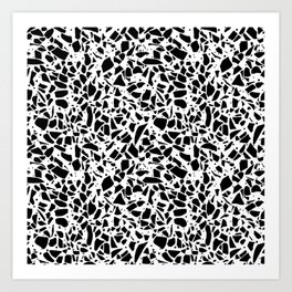 Terrazzo Spot 2 Black on White Art Print