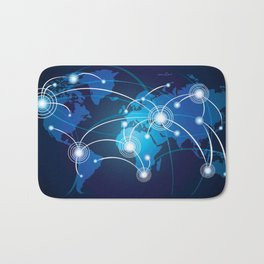 World Map Network Connectivity Business Power Design Bath Mat