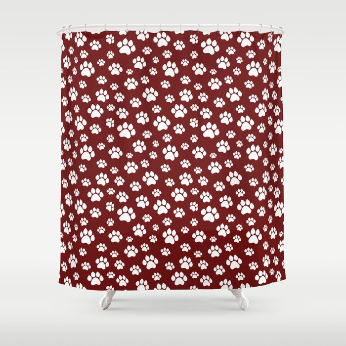 Puppy Prints On Maroon Shower Curtain