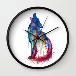 Howling Wolf Watercolor Silhouette Wall Clock