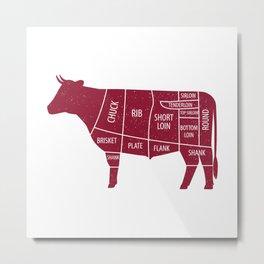 Beef Chart Cuts BBQ Barbecue Grill Metal Print